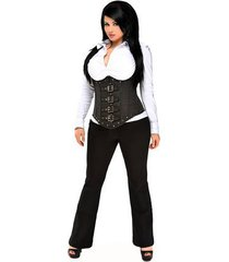 top drawer steel boned pinstripe corset with buckle detailing