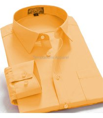 men's regular fit long sleeve solid color elegant casual dress shirt mustard