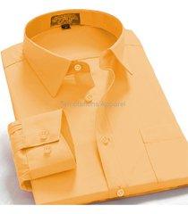 men's regular fit long sleeve solid color elegant casual dress shirt mustard