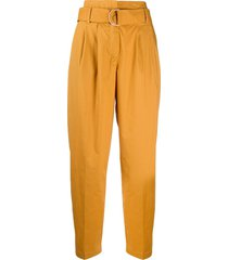 8pm belted tapered-leg trousers - yellow