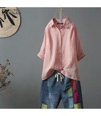 zanzea más el tamaño de las mujeres camisa de algodón étnico tops turn down cuello de la blusa de gran tamaño tops -rosado
