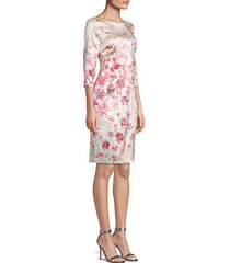 brush-stroke floral stretch silk sheath dress