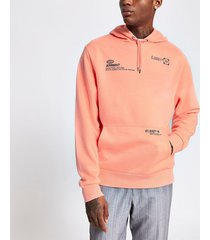 river island mens coral print regular fit hoodie