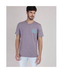 """camiseta masculina sunday morning"""" manga curta gola careca lilás"""""""