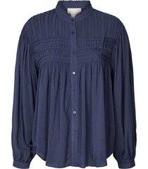 blouse met plooidetails cara  blauw