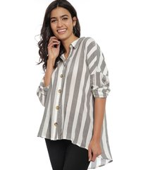 blusa only alta 3/4 gris - calce oversize