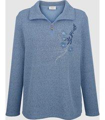 sweatshirt med krage och dragkedja paola blå