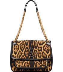 saint laurent medium niki leopard-print shoulder bag - brown