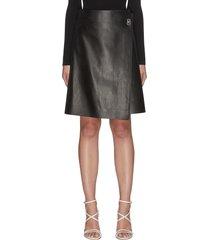 lambskin leather wrap skirt
