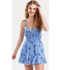 cydney floral godet dress - blue