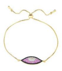 pulseira regulável com olho grego multi cravejado banhado a ouro 18k