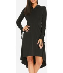 halloween hooded lace up gothic dress