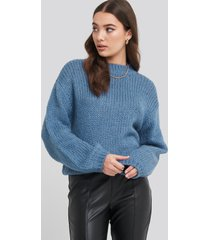 na-kd balloon sleeve oversized knitted sweater - blue