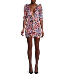 for love & lemons women's bouquet floral puff-sleeve mini dress - cobalt - size xs