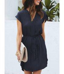 yoins para atar diseño cintura con cordón y cuello en v vestido