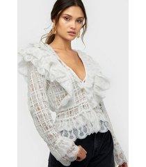 nly trend mega frill blouse festblusar