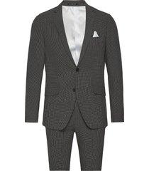 seersucker checked suit pak grijs lindbergh