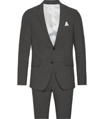 seersucker checked suit pak grijs lindbergh