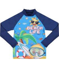 camiseta manga larga de baño azul emoji en tejido de punto emol05