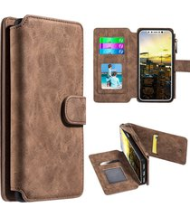 iphone x case flip wallet with card slot and detachable back case - brown