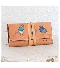 leather wallet, 'song of birds' (costa rica)