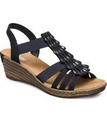 62436-14 sandalette med klack espadrilles blå rieker