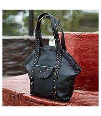 leather tote handbag, 'andean style' (peru)