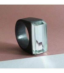 szary pierścionek z żywicy z lustrem