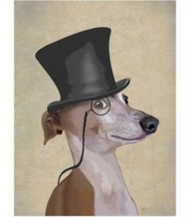 "fab funky greyhound, formal hound and hat canvas art - 15.5"" x 21"""