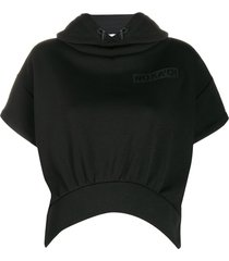 no ka' oi short-sleeved hooded performance sweatshirt - black