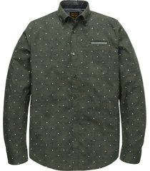 pme legend psi205226 6026 long sleeve shirt poplin stretch all-over print green