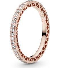 anel pandora rose coração de pandora