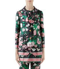 women's gucci flora print silk twill blazer, size 2 us / 38 it - black