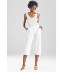 natori stretch cotton blend crop pants, women's, size 8