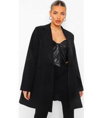 lange geplooide oversized blazer, black