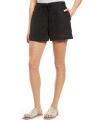 women's tommy bahama palmbray linen shorts, size x-small - black