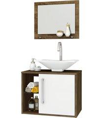 conjunto p/ banheiro baden madeira rústica/branco móveis bechara
