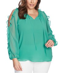 1.state trendy plus size ruffled cold-shoulder top