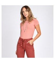 blusa t-shirt bloom decote careca manga curta gérbera