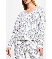 river island womens cream animal print twist knot pyjama top