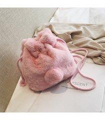 borsa a tracolla della borsa del secchio della corda della peluche sveglia per le donne