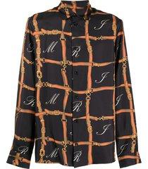 amiri belt print long-sleeve silk shirt - black