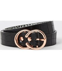 river island womens black croc embossed mini double ring belt