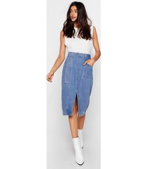 womens wash done is done denim midi skirt - vintage blue