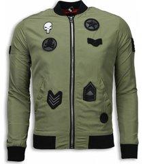 bomberjack heren - bomberjack military skull patches