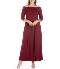 women's plus size off shoulder maxi dress