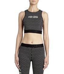 kenzo women's printed logo sports bra - black - size xs