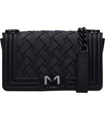 marc ellis flat braid s shoulder bag in black pvc