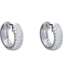 orecchini a cerchio in argento con pavé di zirconi per donna