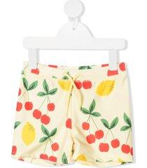 mini rodini cherry and lemon-print swim shorts - yellow